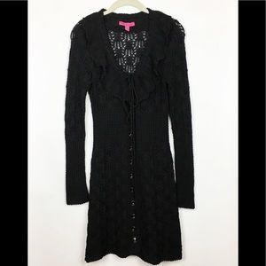 Betsey Johnson Crochet Sweater Coat Black Large